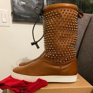9.5/10  Louboutin shearling studded sneaker boots